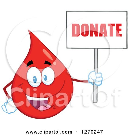 Clipart of a Happy Blood or Hot Water Drop Holding up a Donate Sign - Royalty Free Vector Illustration by Hit Toon