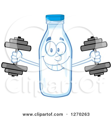 Clipart of a Milk Bottle Character Working out with Dumbbells - Royalty Free Vector Illustration by Hit Toon