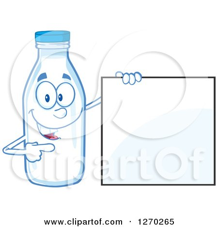 Clipart of a Milk Bottle Character Holding and Pointing to a Blank Sign - Royalty Free Vector Illustration by Hit Toon
