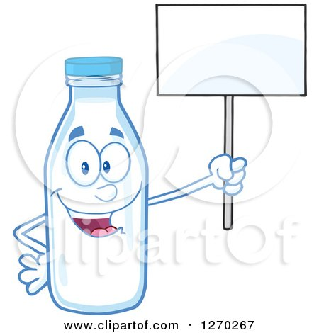 Clipart of a Milk Bottle Character Holding up a Blank Sign - Royalty Free Vector Illustration by Hit Toon
