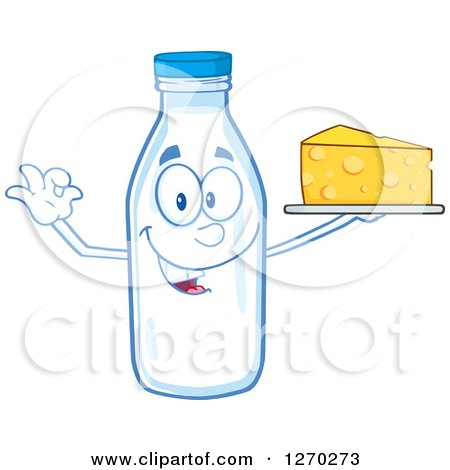 Clipart of a Milk Bottle Character Gesturing Ok and Holding up Cheese - Royalty Free Vector Illustration by Hit Toon