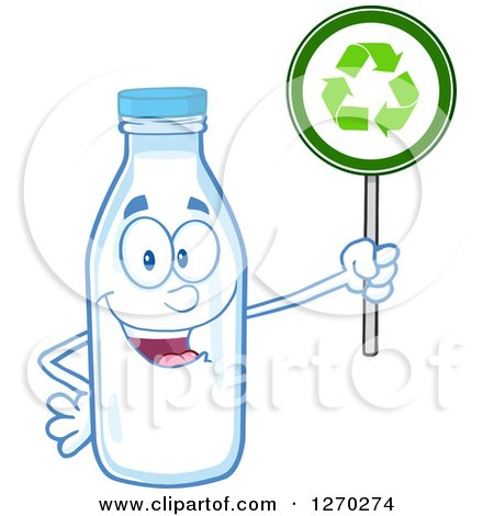 Clipart of a Milk Bottle Character Holding up a Recycle Sign - Royalty Free Vector Illustration by Hit Toon