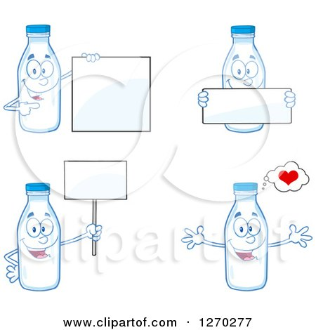 Clipart of Milk Bottle Characters 2 - Royalty Free Vector Illustration by Hit Toon