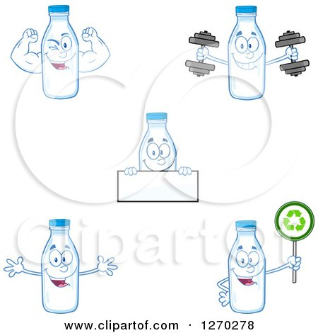 Clipart of Milk Bottle Characters 3 - Royalty Free Vector Illustration by Hit Toon