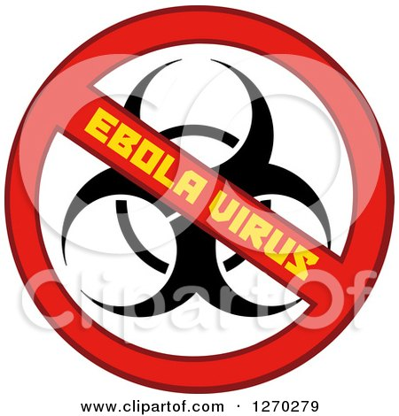 Clipart of a No Ebola Virus Biohazard Sign - Royalty Free Vector Illustration by Hit Toon