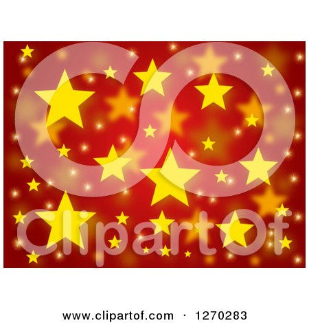 Clipart of a Red Christmas Background with Yellow Stars - Royalty Free Illustration by oboy