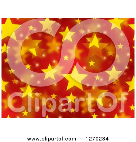 Clipart of a Seamless Pattern of Red Christmas Background with Yellow Stars - Royalty Free Illustration by oboy