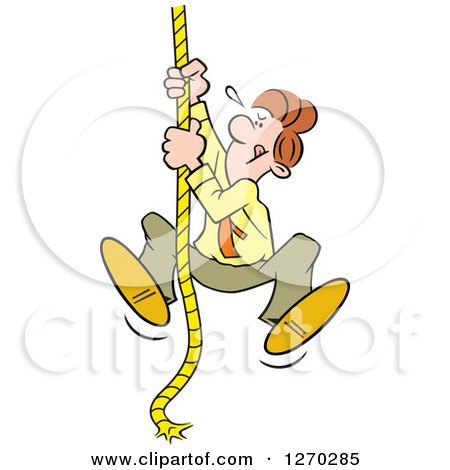 Clipart of a Determined Caucasian Man Climbing an Upward Mobility Rope - Royalty Free Vector Illustration by Johnny Sajem
