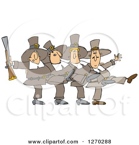 Clipart of Thanksgivinh Pilgrim Men Dancing the Can Can - Royalty Free Vector Illustration by djart