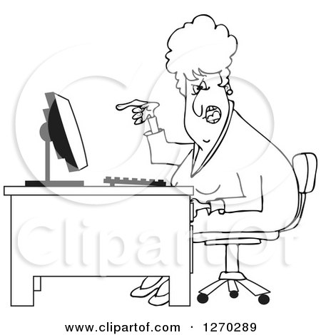 Clipart of a Black and White Angry Business Woman Yelling at Her Computer Desk - Royalty Free Vector Illustration by djart