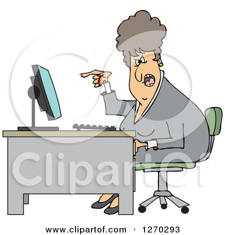 Clipart of a Caucasian Angry Business Woman Yelling at Her Computer Desk - Royalty Free Vector Illustration by djart