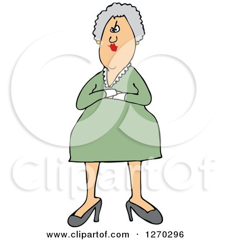 Clipart of a White Stern or Angry Senior Woman with Folded Arms - Royalty Free Vector Illustration by djart