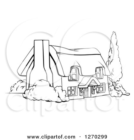 Clipart of a Black and White Farm Cottage with Shrubs and a Tree - Royalty Free Vector Illustration by AtStockIllustration