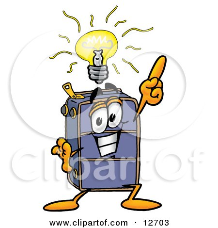 Clipart Picture of a Suitcase Cartoon Character With a Bright Idea by Toons4Biz