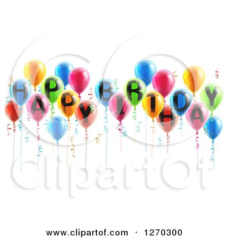 Clipart of a Group of 3d Colorful Party Balloons and Ribbons with Happy Birthday Text - Royalty Free Vector Illustration by AtStockIllustration
