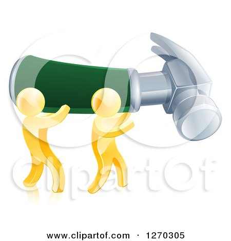 Clipart of 3d Gold Men Carrying a Giant Hammer - Royalty Free Vector Illustration by AtStockIllustration