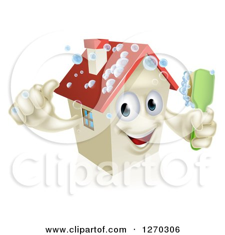 Clipart of a Happy 3d House Character Giving a Thumb up and Cleaning Itself with a Brush - Royalty Free Vector Illustration by AtStockIllustration