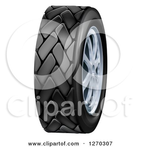 Clipart of a 3d Black Rubber Car Tire and Chrome Rims - Royalty Free Vector Illustration by AtStockIllustration
