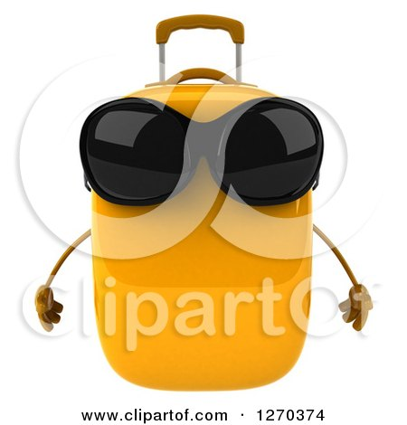 Clipart of a 3d Yellow Suitcase Character Wearing Sunglasses - Royalty Free Illustration by Julos
