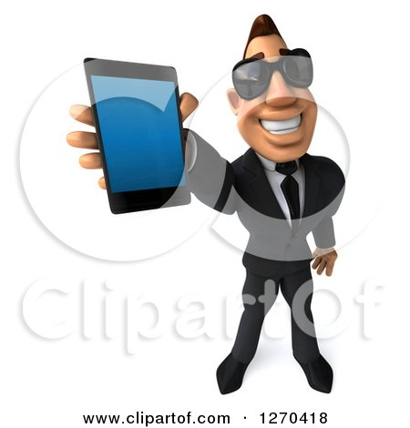 Clipart of a 3d White Businessman Wearing Sunglasses and Holding up a Smart Phone - Royalty Free Illustration by Julos