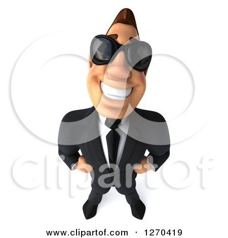3d White Businessman Wearing Sunglasses and Smiling Upwards Posters, Art Prints