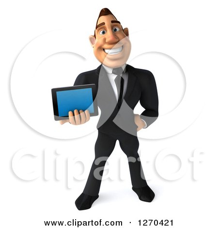 Clipart of a 3d White Businessman Holding a Tablet Computer or Smart Phone - Royalty Free Illustration by Julos