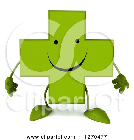 Clipart of a 3d Happy Green Pharmaceutical Cross Character - Royalty Free Illustration by Julos