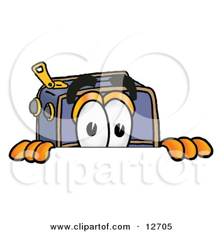 Clipart Picture of a Suitcase Cartoon Character Peeking Over a Surface by Toons4Biz