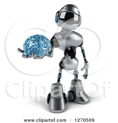 Clipart of a 3d Silver Male Techno Robot Holding a Blue Glass Brain - Royalty Free Illustration by Julos