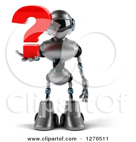 Clipart of a 3d Silver Male Techno Robot Holding a Question Mark - Royalty Free Illustration by Julos