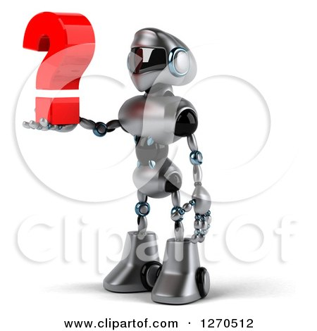 Clipart of a 3d Silver Male Techno Robot Facing Left and Holding a Question Mark - Royalty Free Illustration by Julos