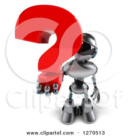 Clipart of a 3d Silver Male Techno Robot Holding up a Question Mark - Royalty Free Illustration by Julos