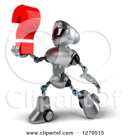 Clipart of a 3d Silver Male Techno Robot Walking and Holding up a Question Mark - Royalty Free Illustration by Julos