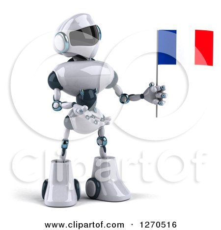 Clipart of a 3d White and Blue Robot Holding and Presenting a French Flag - Royalty Free Illustration by Julos