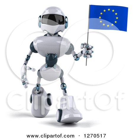 Clipart of a 3d White and Blue Robot Walking and Holding a European Flag - Royalty Free Illustration by Julos