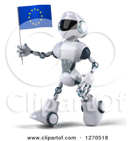Clipart of a 3d White and Blue Robot Walking to the Left and Holding a European Flag - Royalty Free Illustration by Julos