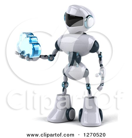 Clipart of a 3d White and Blue Robot Holding a Blue Glass Cloud to the Left - Royalty Free Illustration by Julos