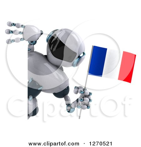 Clipart of a 3d White and Blue Robot Holding a French Flag Around a Sign - Royalty Free Illustration by Julos