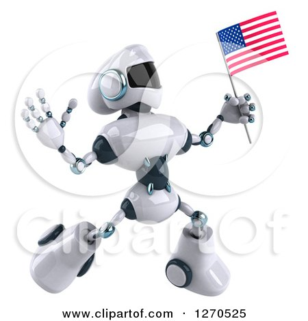 Clipart of a 3d White and Blue Robot Jumping and Holding an American Flag - Royalty Free Illustration by Julos