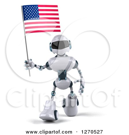 Clipart of a 3d White and Blue Robot Walking and Holding an American Flag - Royalty Free Illustration by Julos