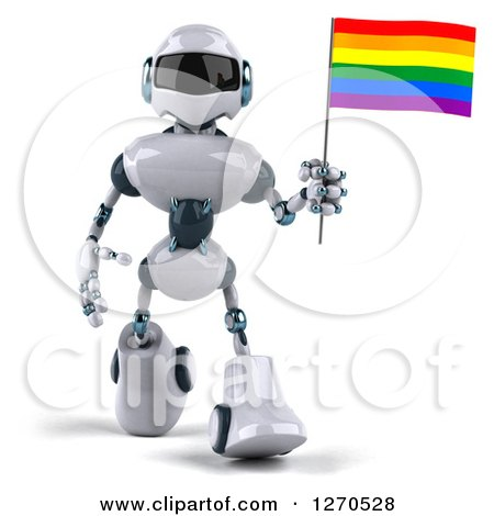 Clipart of a 3d White and Blue Robot Walking and Holding a Rainbow LGBT Flag - Royalty Free Illustration by Julos