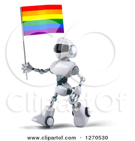 Clipart of a 3d White and Blue Robot Walking to the Left with a Rainbow LGBT Flag - Royalty Free Illustration by Julos
