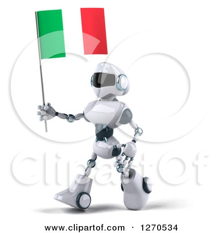Clipart of a 3d White and Blue Robot Walking to the Left with an Italian Flag - Royalty Free Illustration by Julos