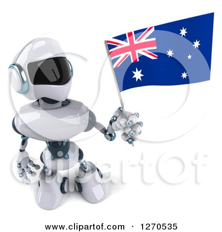 Clipart of a 3d White and Blue Robot Holding up and Looking at an Australian Flag - Royalty Free Illustration by Julos