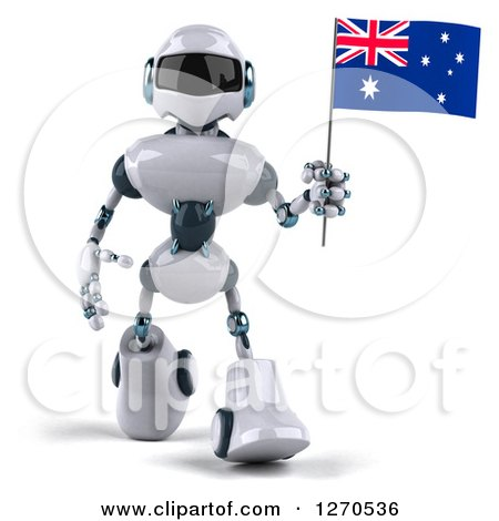 Clipart of a 3d White and Blue Robot Walking Forward with an Australian Flag - Royalty Free Illustration by Julos