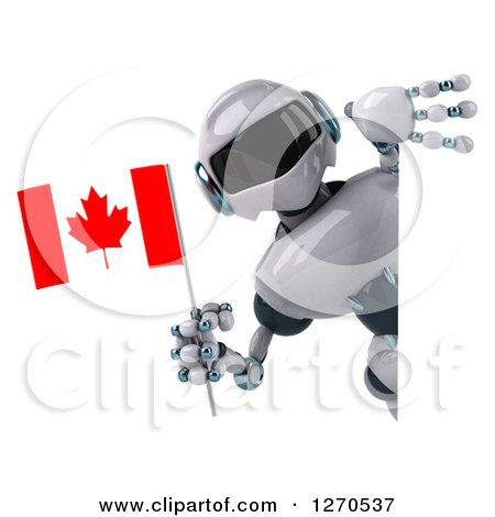 Clipart of a 3d White and Blue Robot Holding a Canadian Flag Around a Sign - Royalty Free Illustration by Julos