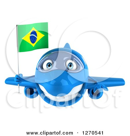 Clipart of a 3d Happy Blue Airplane Flying with a Brazilian Flag - Royalty Free Illustration by Julos