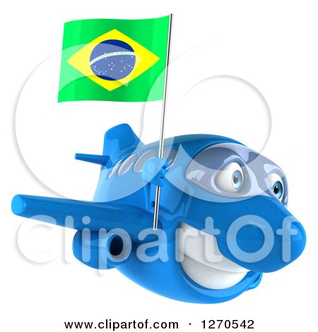 Clipart of a 3d Happy Blue Airplane Flying to the Right with a Brazilian Flag - Royalty Free Illustration by Julos
