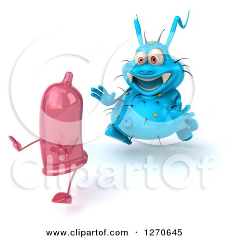 Clipart of a 3d Blue Germ Chasing a Pink Condom to the Left - Royalty Free Illustration by Julos