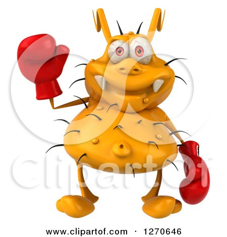 Clipart of a 3d Boxing Yellow Germ Waving - Royalty Free Illustration by Julos